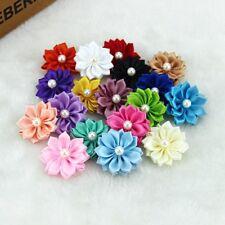30 X Satin Ribbon Flower Craft Pearl Bead Decor DIY Clothing Accessory Wedding