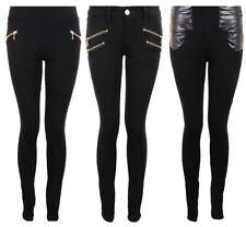 Ladies  Zip Button Wet Look Black Skinny Fit Women's Smart Jeggings Leggings