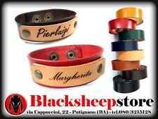 Bracciale in cuoio con incisione nome Personalizzata vari colori idea regalo