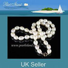 ORO 9 CARATI Autentico Bianco Perla D'acqua Dolce Collana con perla Isola