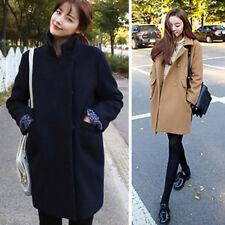 ☛ Women Winter Warm Trench Woolen Parka Long Coat Outwear Long Lapel Jacket S-XL