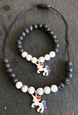 Calming White Unicorn Diffuser Necklace and Bracelet Set Natural Stones Lava New