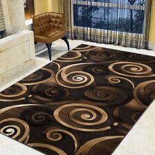 Spiral/Swirls Modern Contemporary Hand Carved Area Rug-Chocolate/Beige/Black