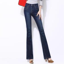 Women's Fleece Winter Warm Jeans Flare Bell Bottom Denim Pants Trousers