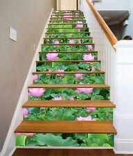 3D Pond lotus Stair Risers Decoration Photo Mural Vinyl Decal Wallpaper AU