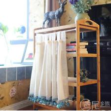 1X Half Curtain Linen Kitchen Cabinet Valance Panel Lace Pom Pom Edge Home Decor