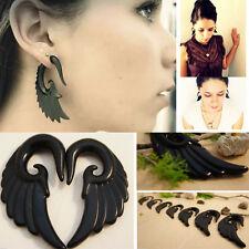 PAIR Black Angel Wing Swan Bird Acrylic Black Ear Expander Tapers Plugs Gauges