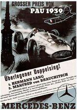 VINTAGE 1939 MERCEDES BENZ Pau GRAND PRIX MOTOR RACING POSTER a3 stampa