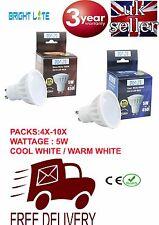 GU10 LED BULB 5W LAMPS SPOTLIGHT COOL WHITE WARM WHITE BULBS BRIGHT LUMENS