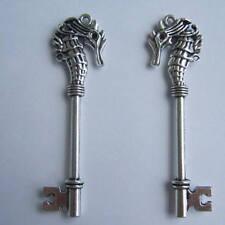 Large Skeleton Keys Antiqued Silver Seahorse Key Nautical Charms 2/4 pieces