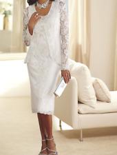 Ashro White Formal Wedding Mother of the Bride Allison Beaded Jacket Dress 6 8