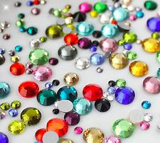 1000 Crystal Clear Acrylic Flat Back Faceted Rhinestones Gem Diamante Stones