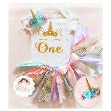 Unicorn birthday outfit,Unicorn tutu outfit,Pink tutu set,pink and gold,Handmade