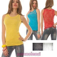 Top donna canotta elasticizzata pizzo strass aderente maglietta nuovo D12-5