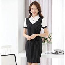 Élégant refined dress women's sheath short polo pinstriped black 3522