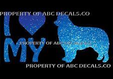 VRS LOVE My Dog Border Collie Heart Puppy Adoption CAR DECAL METAL STICKER