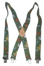 "GARDENING TOOLS American Made Custom 2"" Wide Suspenders Metal Clips GREEN"