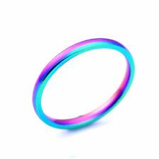2mm Titanium Steel Rainbow Band Multi-color Engagement Wedding Hot Ring Size 5-9