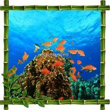 Sticker autocollant Cadre bambou Poissons rouges7131