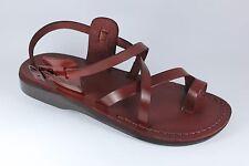 Brown Leather Sandals Womens Gladiator Strap Biblical Jesus UK (3-8) EU(36-42)