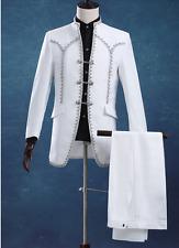 Mens Vintage Stand Collar Slim White Wedding Dress Suits 2Pcs Jacket+Pants B13