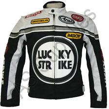 LUCKY STRIKE Cordura Textil Motorrad Jacke - Motorradjacke - Schwarz / Weiß