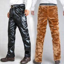 Men's Thick Pants Outdoor Leather Trousers Waterproof Fleece Lined Windproof New