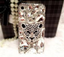 Jewelled Rhinestone Bling Crystal Clear Diamond leopard Soft TPU Gel Phone Case