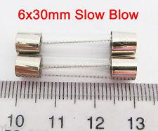 100 Pcs 6x30 Slow Blow Glass Fuse 6mm x 30mm 250V Slow Blow T0.25A-T15A