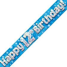 Azul Happy 12 Cumpleaños METALIZADO Letrero De Fiesta Decoración Estrellas