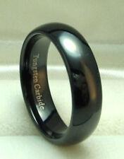 MEN 6mm Black TUNGSTEN CARBIDE comfort fit ring 8 to 10