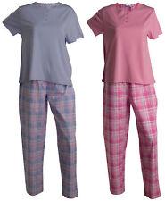Pyjamas Set Ladies Slenderella Plain Short Sleeved Jersey Top Tartan PJ Bottoms