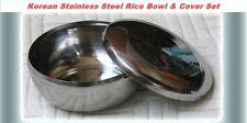 Korean Stainless Steel Rice Bowl+Lid set Warm Bowl Kitchen 2 Sets (Free Gift)