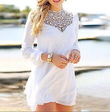 Vestito Mini Estate Donna Chiffon Pizzo - Woman Summer Dress lace Chiffon 110049