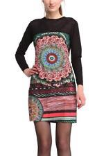 Desigual Shuin Dress 38-46 10-18 RRP�99 Black Bright Floral Design Sheer Sleeves
