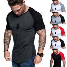 d4cd9e870c7 UK Men s Gym Summer Slim Fit Casual Short Sleeve Muscle Tee Tops T-shirt  Blouse