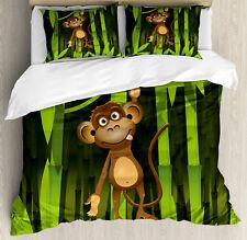 Brown Green Duvet Cover Set with Pillow Shams Wild Cute Monkey Print