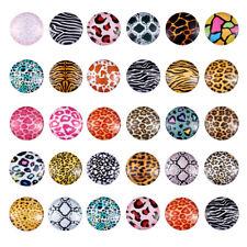 50pcs Flatback Glass Cabochons Pendants Half Round Craft Jewelry Making 25x7mm