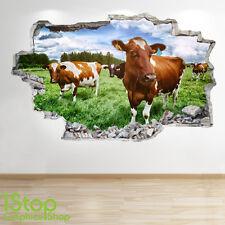 VACHE Autocollant Mural 3D LOOK - chambre salon nature Yard ferme Z62