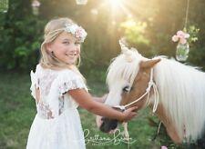 White Long Lace Flower Girl Dress Birthday Wedding Communion Boho Ellura Sage