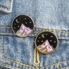 on the Mountain Range Badge Pin Brooch Halloween Backpack Accessories Moon Night