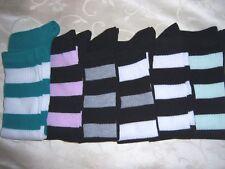 OLD SCHOOL ladies boys KNEE HIGH TUBE socks soccer football base BLACK w/stripes