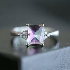 925 Silver Rings Women Jewelry Princess Cut Mystic Topaz Wedding Ring Size 6-10