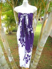 Hawaii Pareo Sarong Purple/White Plumeria Cover-up Cruise Beach Pool Wrap Dress