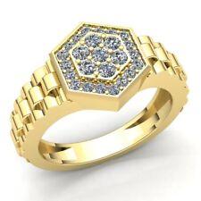 Genuine 1.5ctw Round Cut Diamond Mens Hexagon Ring 18K Gold
