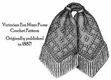 1887 Victorian Miser Purse Crochet Pattern DIY Historical Reenactment