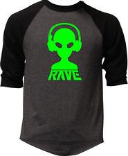 Men's Rave Alien DJ Charcoal Baseball Raglan T-Shirt Dance Party Music EDM V412