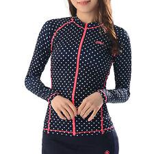 Belleap Rash Guard Womens Zip-Up Long Sleeve Swimwear UV Protection 0336 UK