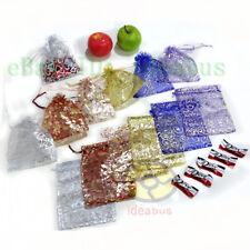 """12/25/50/100pcs Print Pattern Organza Pouch Jewelry Wedding Favor Bag 6.7""""x4.73"""""""