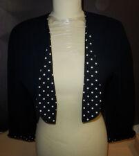 Damen Bolero Jacke  dunkelblau  Gr. 38 mit getupften Umschlägen